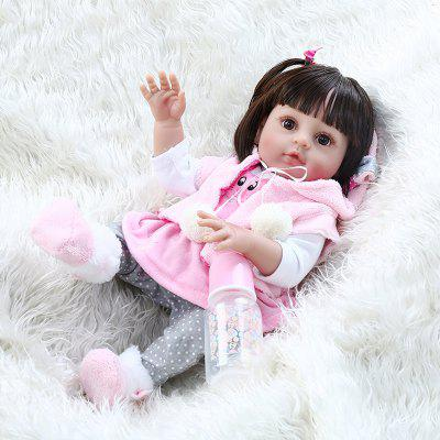 NPK 48CM Popular Soft Flexible Full Body Silicone Doll Reborn Baby Girl in Pink Rabbit Dress