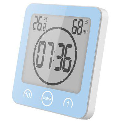 LCD Digital Bathroom Clock Touch Control Thermometer Hygrometer Waterproof Cook Timer