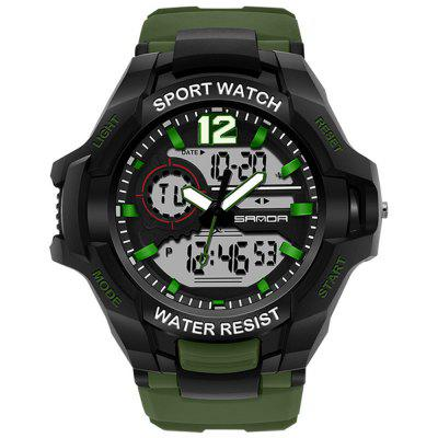 SANDA 801 Men Multi-functional Electronic Watch Luminous Water-resistant Outdoor Wristwatch