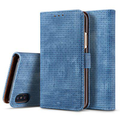 Retro Mesh Breathable Horizontal Leather Phone Case with Card Slot Holder Wallet Photo Frame for iPhone XR