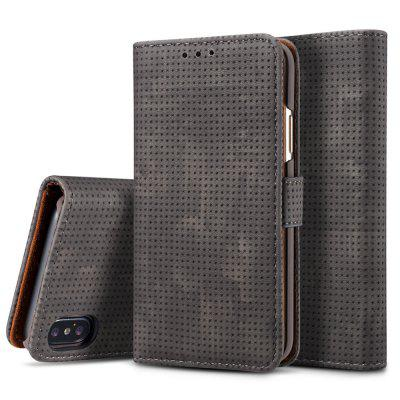 Retro Mesh Breathable Horizontal Leather Phone Case with Card Slot Holder Wallet Photo Frame for iPhone X / Xs