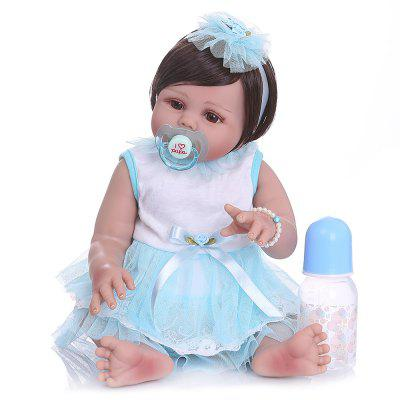 NPK 49CM Toddler Newborn Doll Reborn Baby Girl in Tan Skin Full Body Silicone Toy