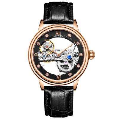 GUANQIN GJ16137 Men Leather Band Automatic Mechanical Watch Casual Simple Water-resistant Wristwatch