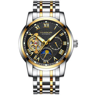 GUANQIN GJ16062 Men's Business Casual Mechanical Watch with Luminous Moon Phase Hollow Out Dial Wristwatch