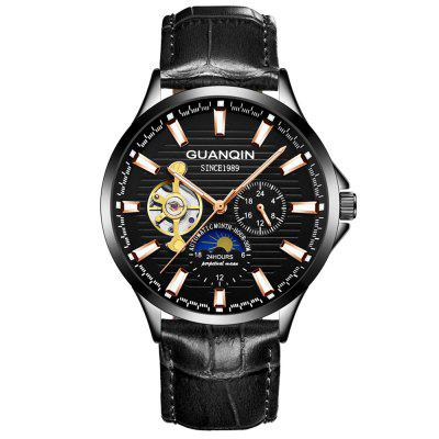 GUANQIN GJ16131 Men Hollow Out Automatic Mechanical Watch Leather Band Wristwatch