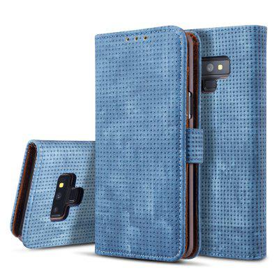 Retro Mesh Breathable Ultra-thin Flip Phone Case PU Leather Protective Cover for Samsung Galaxy Note 9