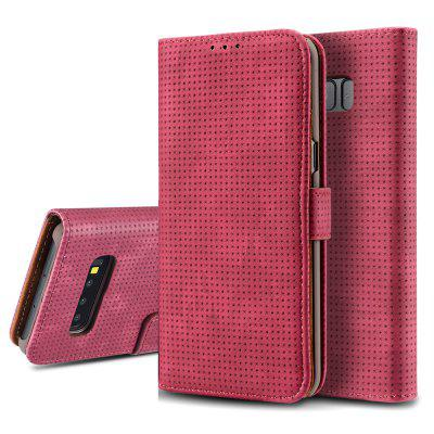 Retro Mesh Breathable Horizontal Leather Phone Case with Card Slot Holder Wallet Photo Frame for Samsung Galaxy S10