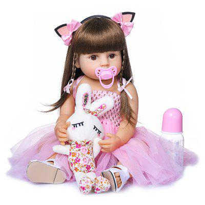 NPK 55CM Reborn Baby Toddler Girl Princess Doll In Pink Skirt Lifelike Soft Full Body Silicone Toy