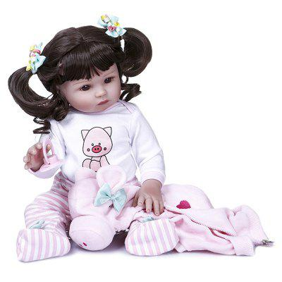 NPK 47CM Newborn Baby Full Body Silicone Doll Reborn Toddler Girl
