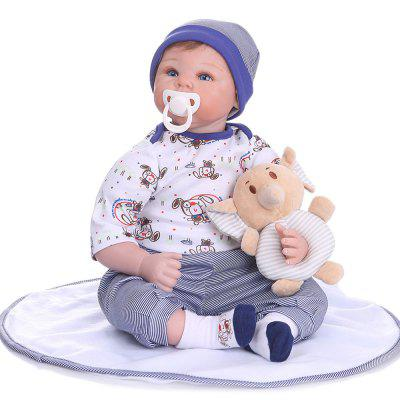 NPK 55CM Newborn Baby Realistic Reborn Doll Lifelike Soft Silicone Body Rooted Hair