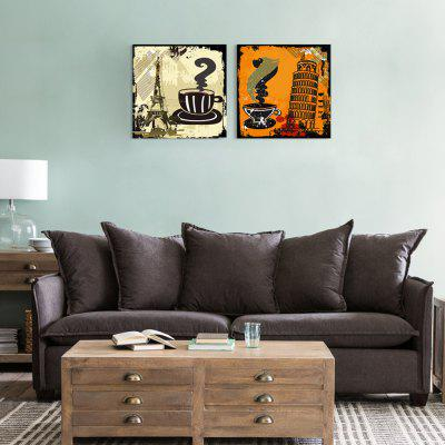 Seven Wall Arts 7W21212001 Retro Coffee Posters Creative Home Decorative Painting Framed Inkjet Prints 2pcs