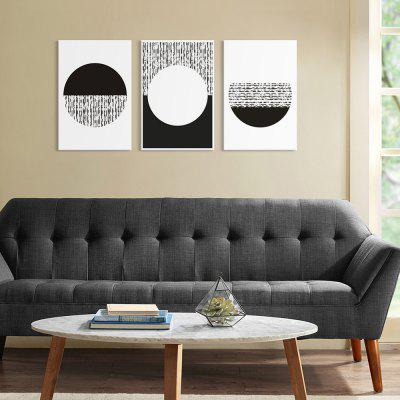 Seven Wall Arts 7JCSL028 Minimalism Black White Circular Abstract Creative Modern Home Decorative Painting Framed Inkjet Prints 3pcs