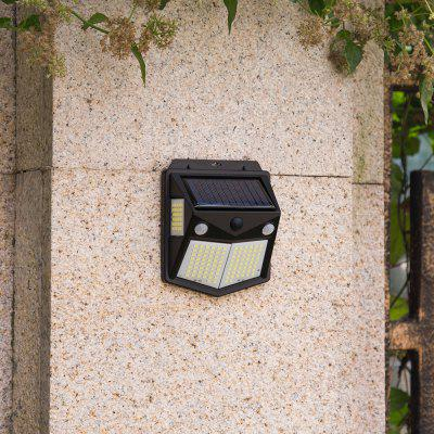 Utorch 160 LED Solar Powered Wall Light Dual PIR Motion Sensor Waterproof Outdoor Garden Lamp with 3 Modes - Black