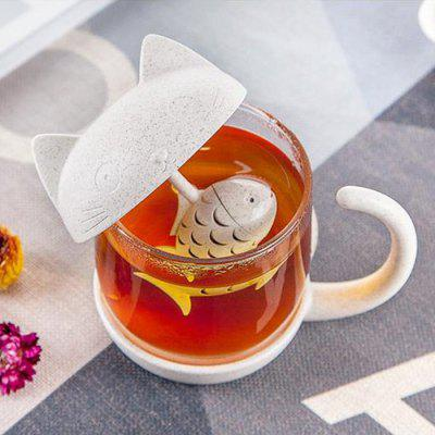 250ml Wheat Straw Cup Cartoon Cute Cat Glass Mug with Fish Infuser Strainer