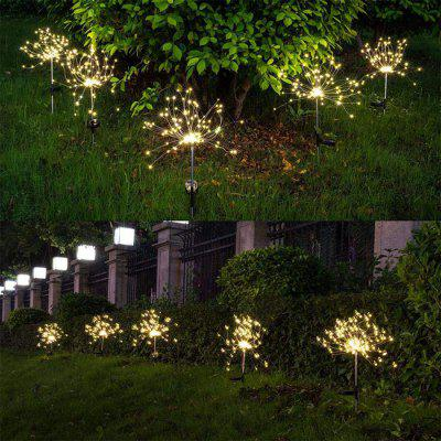 120 LED Solar Powered Outdoor Lawn Light Outdoor 8 Lighting Modes Decorative Starburst Stake Lamp  Oval LED Light 2pcs
