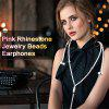 The Influx Of Women Pearl Necklace With Headphone Line 3.5mm Universal Headset With Diamonds - PINK