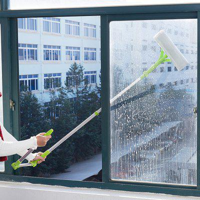 Household Telescopic Rod Sided Glass Wiper Window Cleaner Scraping Brush Cleaning Tool