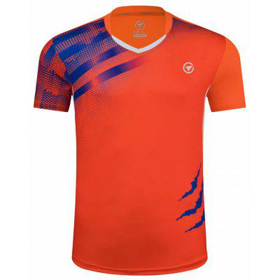 Men Summer Round Neck Short Sleeve T-shirt Male Sportswear Breathable Quick-drying Badminton Table Tennis Clothes