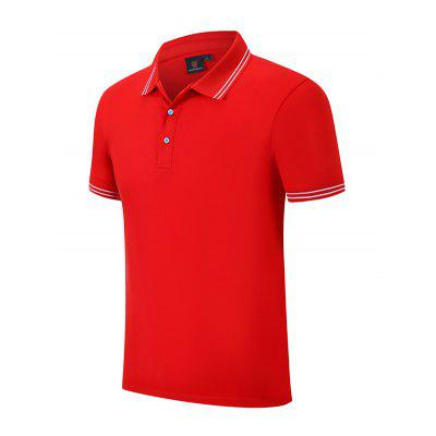Men Short Sleeve T-shirt Fashionable Casual Solid Color Turn Down Collar Shirt