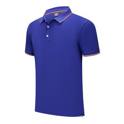 Cotton Men Sports T-shirt Short-sleeved Golf Clothes Turn Down Collar Shirt Breathable Absorbent for Summer