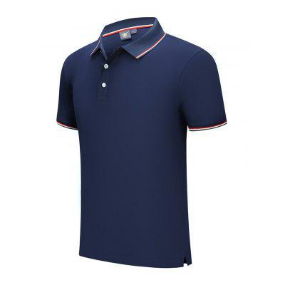 T-shirt di Cotone a Maniche Corte da Golf con Colletto Risvolto Respirabile Assorbente per Estate