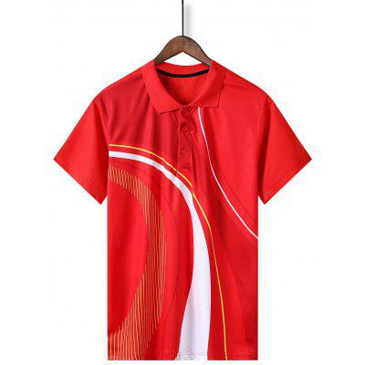 Men Quick-drying Turn-down Collar Sports T-shirt Male Short-sleeved Shirt Breathable Badminton Summer Clothes