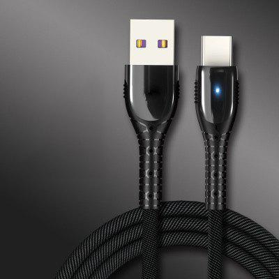 Fast Charging Data Line 1.2m Braided Type-C Charging Cable with Light for Huawei 5A Android Phone
