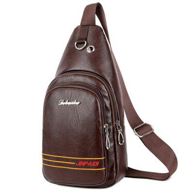 Men Casual Crossbody Bag Single Shoulder Bag PU Leather Messenger Chest Pack