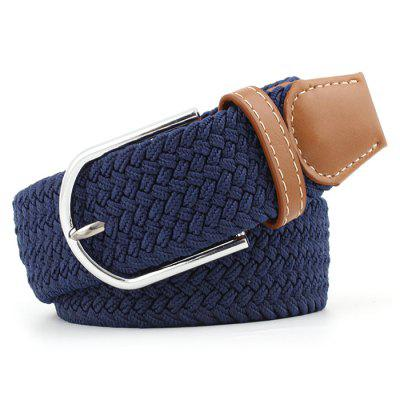 Men's Solid Color Casual Elastic Waistband Elastic Waist Belt with Knitting Buckle