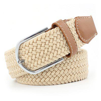 Men's Solid Color Casual Elastic Waistband Elastic Waist Belt with Knitting Buckle, Waist Strap