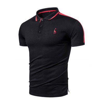 Embroidered Short Sleeves Men Turn Down Collar Shirts Solid Color