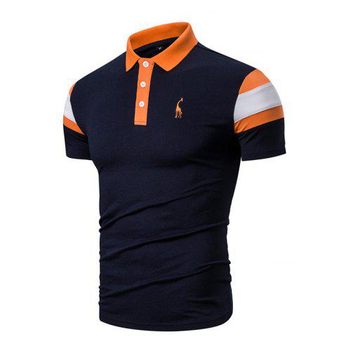 Geometric Print Short-Sleeve Polo Shirt CY Mens Lapel T-Shirt