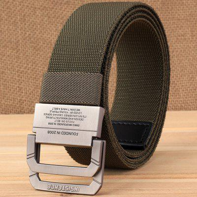 Pánske Double Loop Buckle Elastic Stretch Nylon Knitting Tactical Belt Outdoor pas Canvas Belt