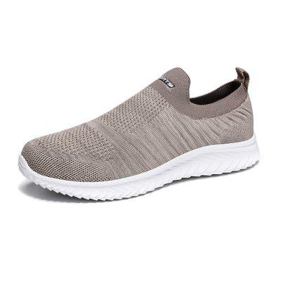 AILADUN Fashion Men's Spring Breathable Flyknit Solid Color Sports and Leisure Shoes