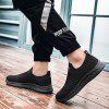 AILADUN Fashion Men's Spring Breathable Flyknit Solid Color Sports and Leisure Shoes - JET BLACK