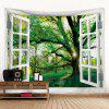 Window Green View Creative Home Bedroom Living Room Decoration Hanging Tapestry Beach Cushion Shooting Background Cloth - SEA GREEN