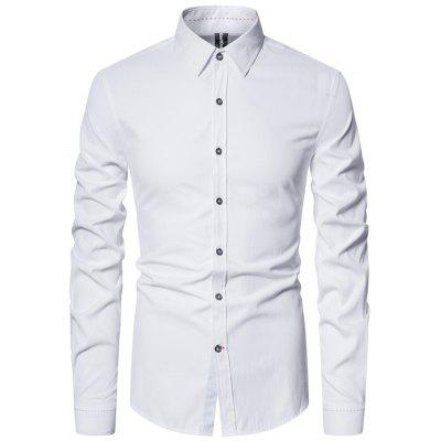 Spring Business Casual Men Long Sleeve Shirt Slim Solid Color Foreign Trade Ouma