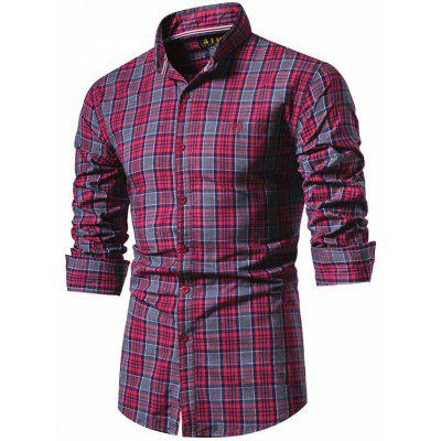 Men Spring Long Sleeve Shirt Cotton High Quality Plaid Top Euro Size