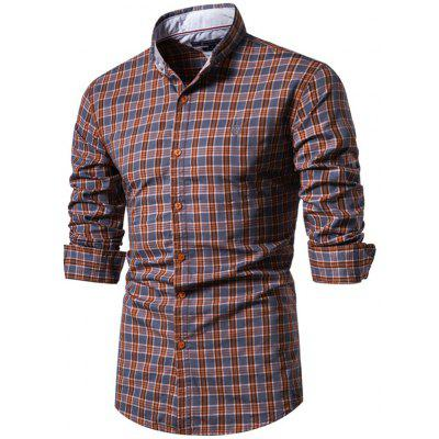 Man Cotton Plaid Long Sleeve Turndown Collar Shirt Euro Size Top
