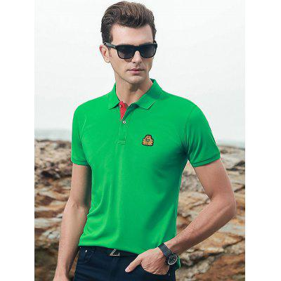 Men Short-sleeved T-shirt Turn-down Collar Loose Plus Size Shirt Embroidery Cotton Top