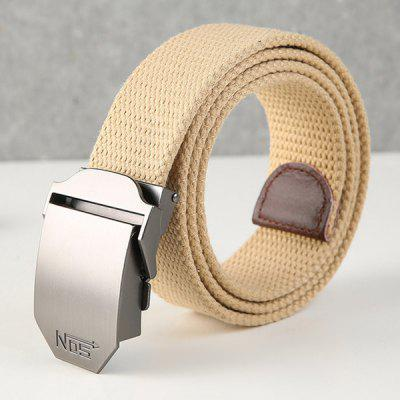 Men Canvas Belt Youth Woven Waistband with Silver Color D-shaped Automatic Buckle