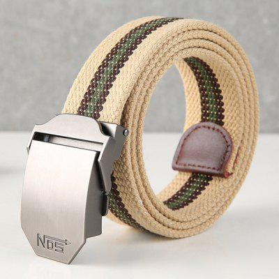Men Canvas Belt Youth Geweven tailleband met zilverkleurige D-vormige Automatic Buckle