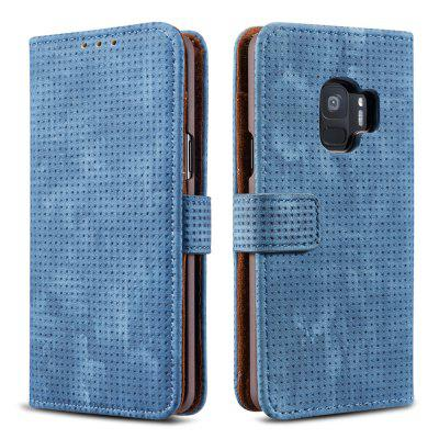 WY-S9 Retro Mesh Breathable Horizontal Flip Leather Fitted Phone Case With Card Slot Holder Wallet Photo Frame For Samsung Galaxy S9