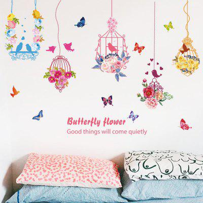 Flower Butterfly Bird Cage Pattern Wall Sticker Modern Style Veranda Restaurant TV pozadí dekorativní tapety