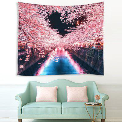 Pink Cherry Blossom Pattern Printed Polyester Tapestry Home Decoration