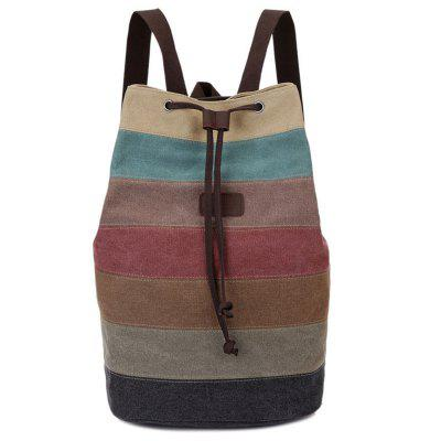 Men Canvas Rucsac Culoare Striped Bucket Travel Bag Pack