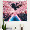 Pink Cherry Blossom patroon gedrukt Polyester Tapestry Home Decoration - ROZE ROOS