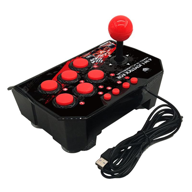 4 in 1 Retro Arcade Station Fighting Stick Game Joystick Controller USB Wired Rocker for PS3/Switch/PC/Android Games Console