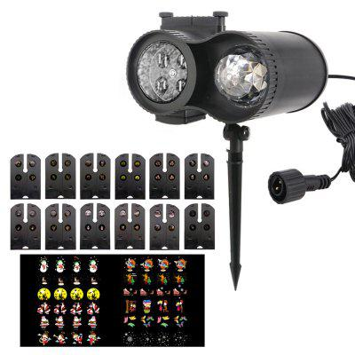 W1805 Waterproof Remote Control 12 Card Pattern Water Pattern Blizzard Halloween Projection Lamp Lawn Downlight