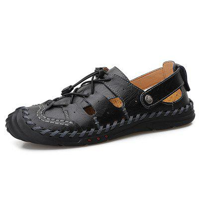 AILADUN Mens Summer ademende sandalen Casual Large Size Leather Male Footwear